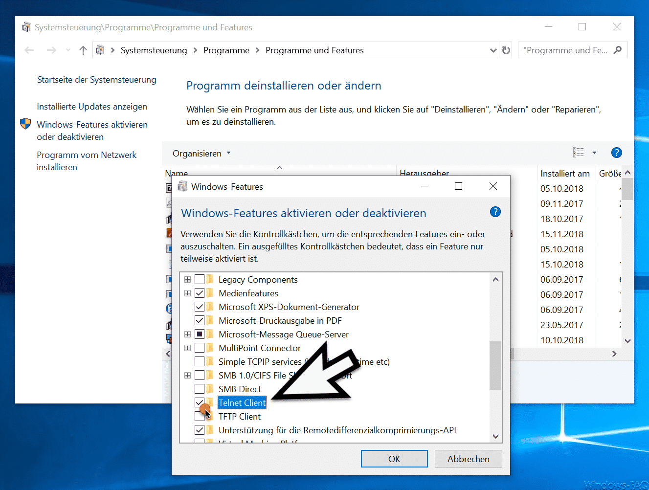install telnet windows 10 server
