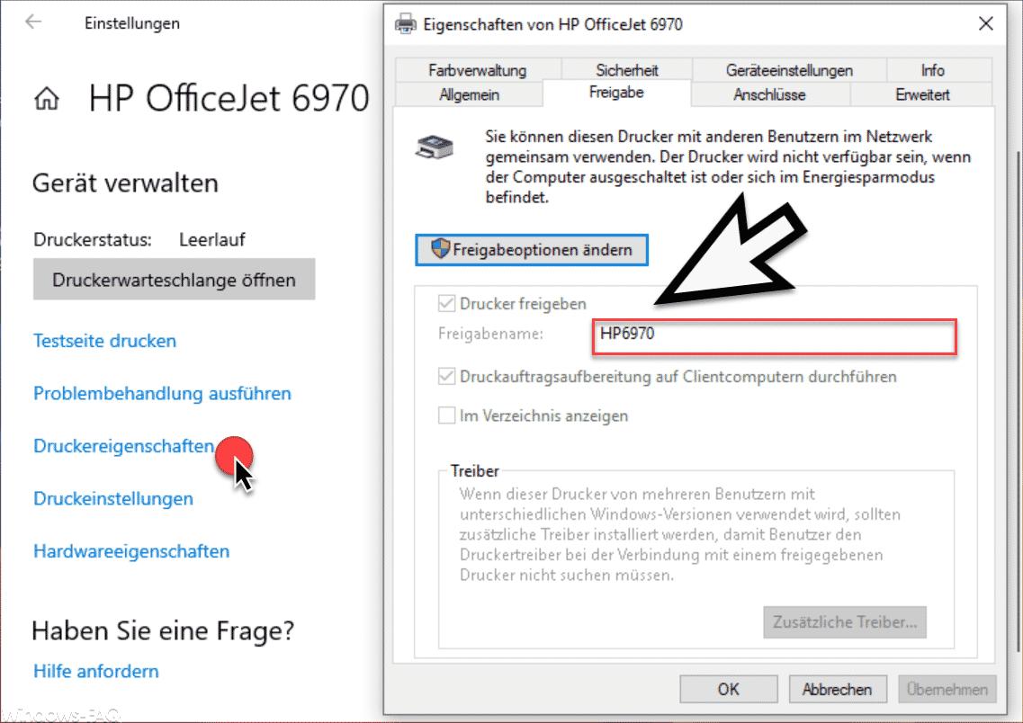 Windows 10 Druckerfreigabe