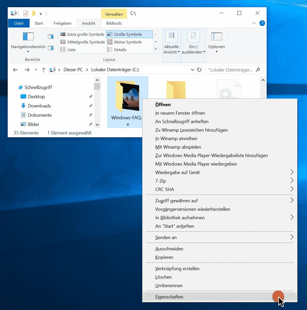 Windows Ordner Eigenschaften