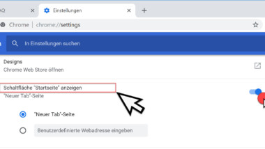 Home Button im Chrome Browser einblenden