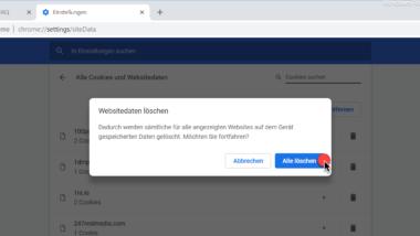 Cookies im Chrome Browser löschen