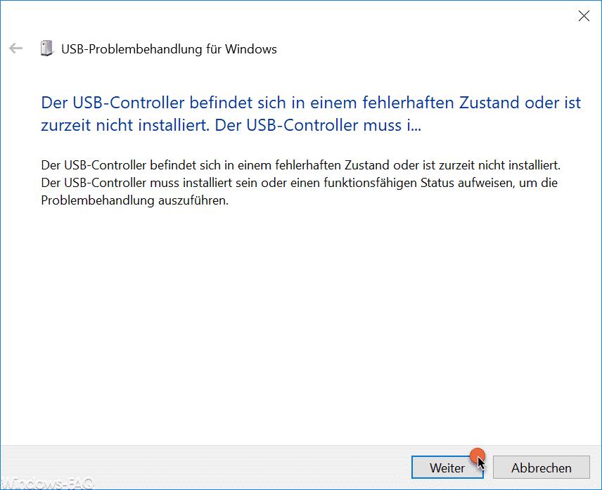 Der USB-Controller befindet sich in einem fehlerhaften Zustand oder ist zurzeit nicht installiert.