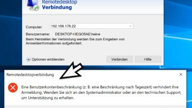 RDP Meldung – Eine Benutzerkontenbeschränkung verhindert Ihre Anmeldung…