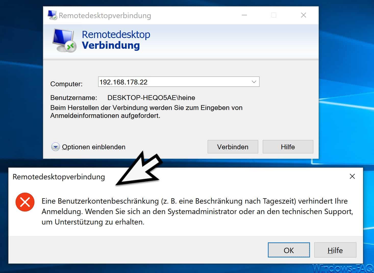 Eine Benutzerkontenbeschränkung verhindert Ihre Anmeldung