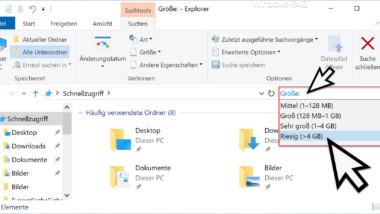 Große Dateien finden bei Windows