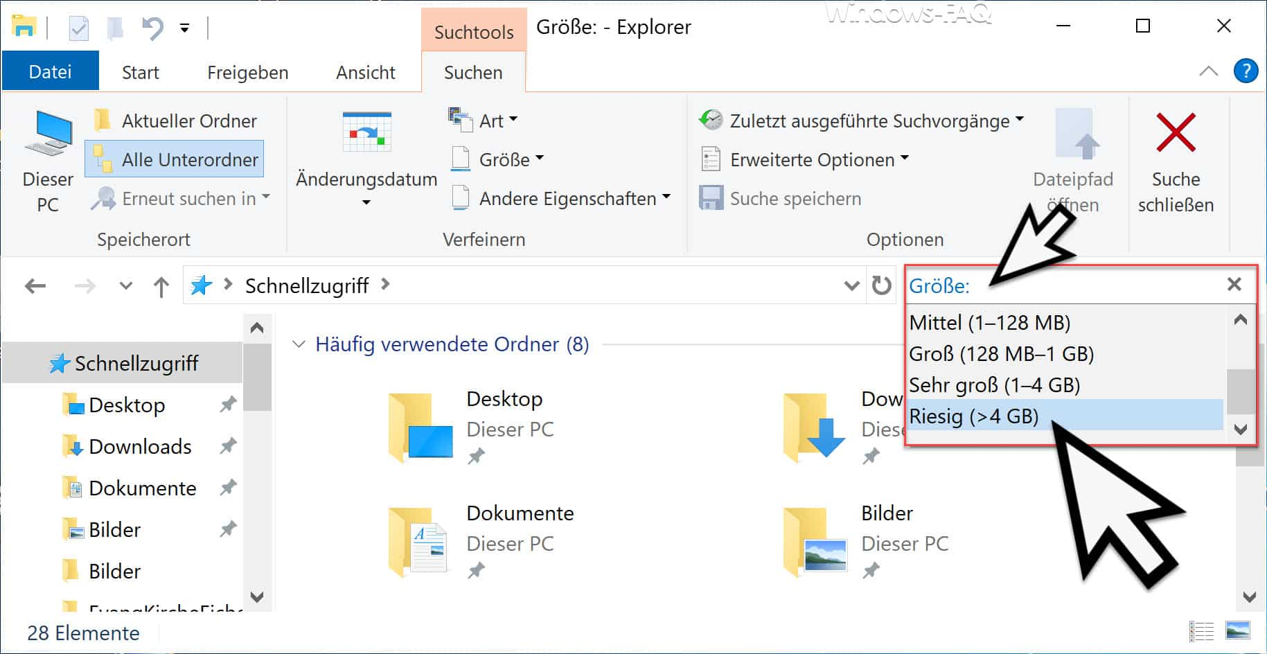 Große Dateien im Explorer suchen