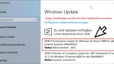 Download Update KB4469342 für Windows 10 Version 1809 Build 17763.168