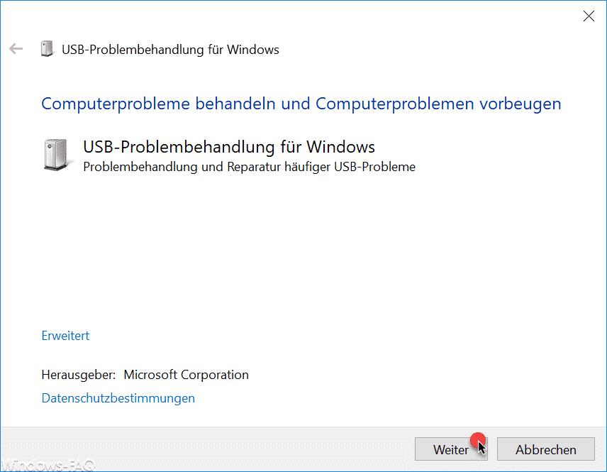USB Problembehandlung für Windows