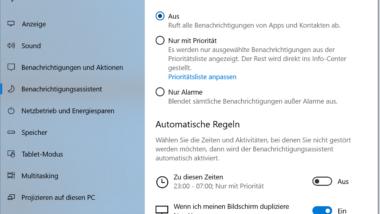 Windows 10 Benachrichtigungsassistent – Verwalten der Windows Benachrichtigungen