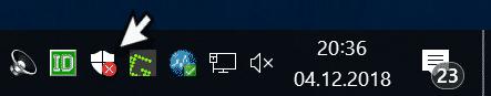 Windows Sicherheit Icon in Windows 10 Taskleiste