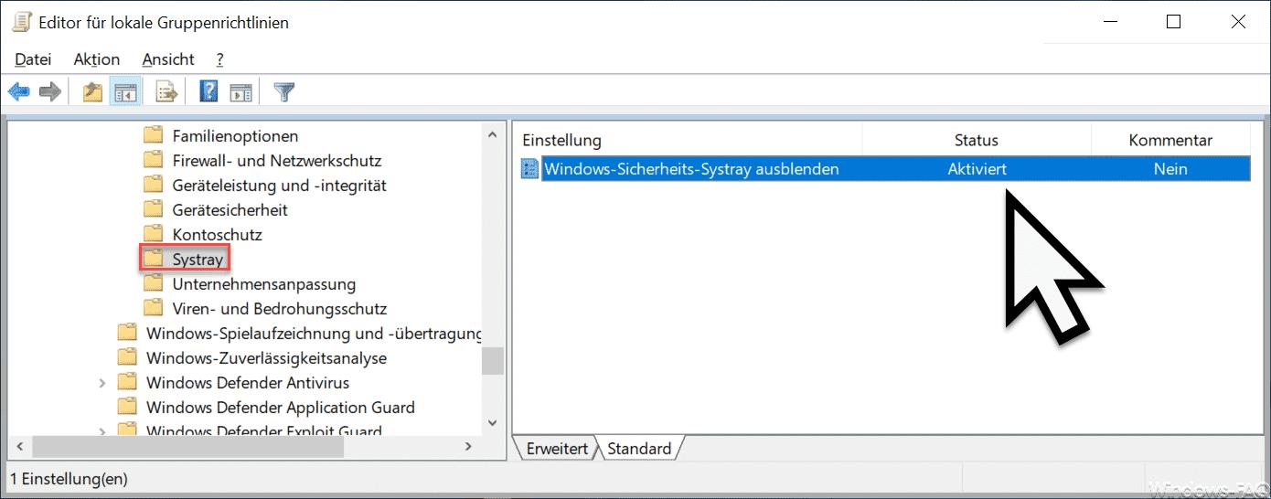 Windows-Sicherheits-Systray ausblenden