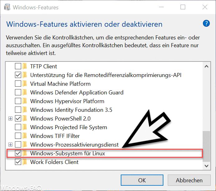 Linux installieren bei Windows 10 » Befehl, Feature