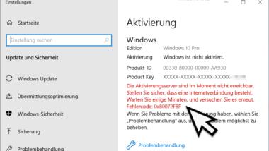Windows Aktivierungsfehler 0x80072f8f