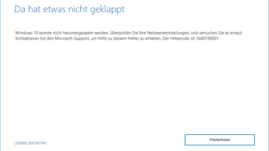 Windows 10 Upgrade Fehlercode 0x80190001
