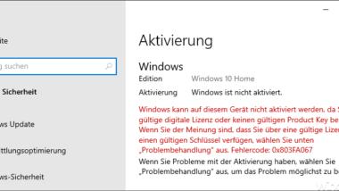 Windows 10 Aktivierungsfehler 0x803FA067