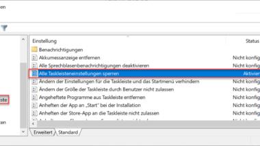 Alle Taskleisteneinstellungen sperren für Windows Anwender