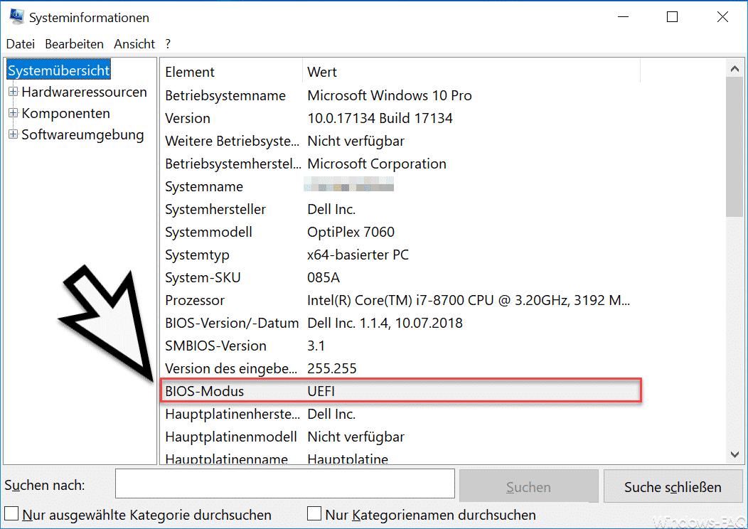 Bios Modus UEFI Windows Systeminformationen