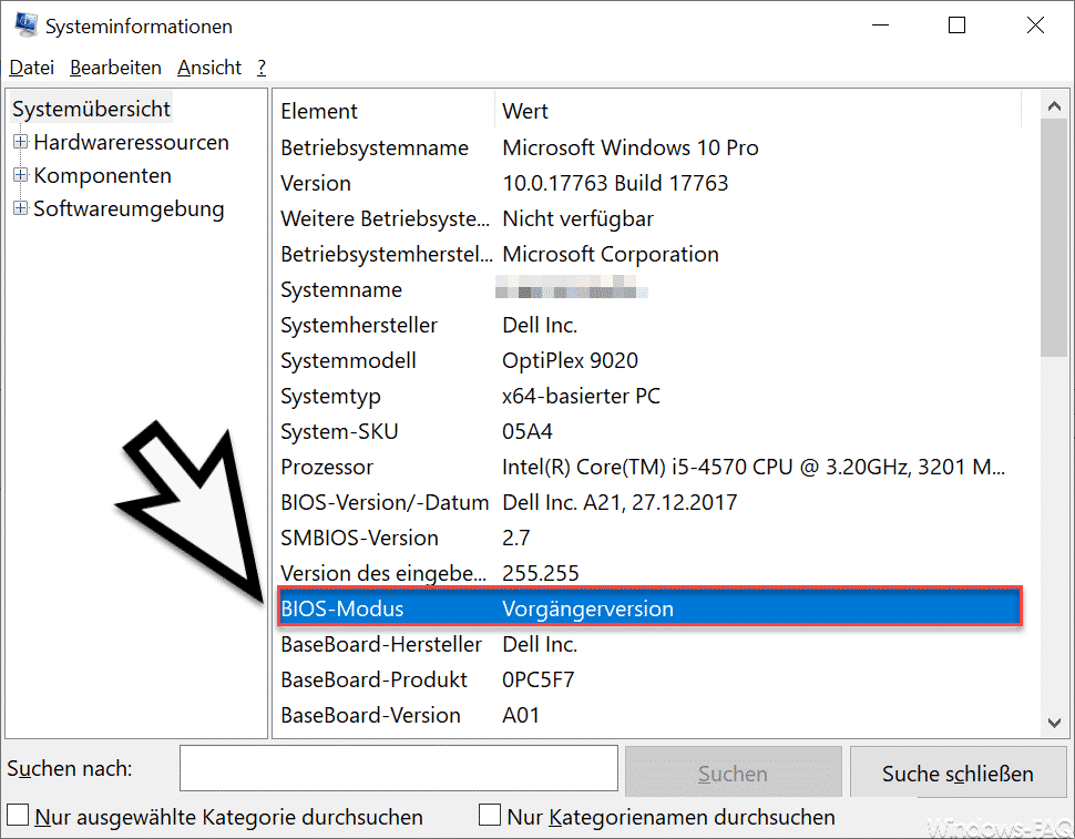 Bios Modus Vorgängerversion Systeminformationen