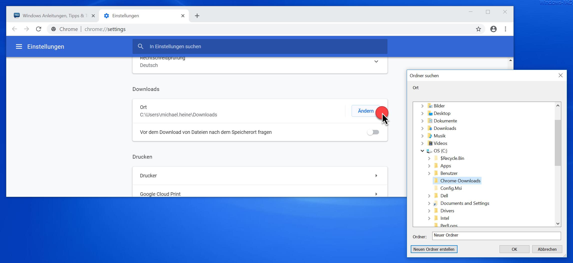 Chrome Downloadordner auswählen