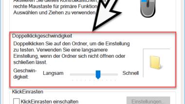 Doppelklickgeschwindigkeit der Maus bei Windows 10 einstellen