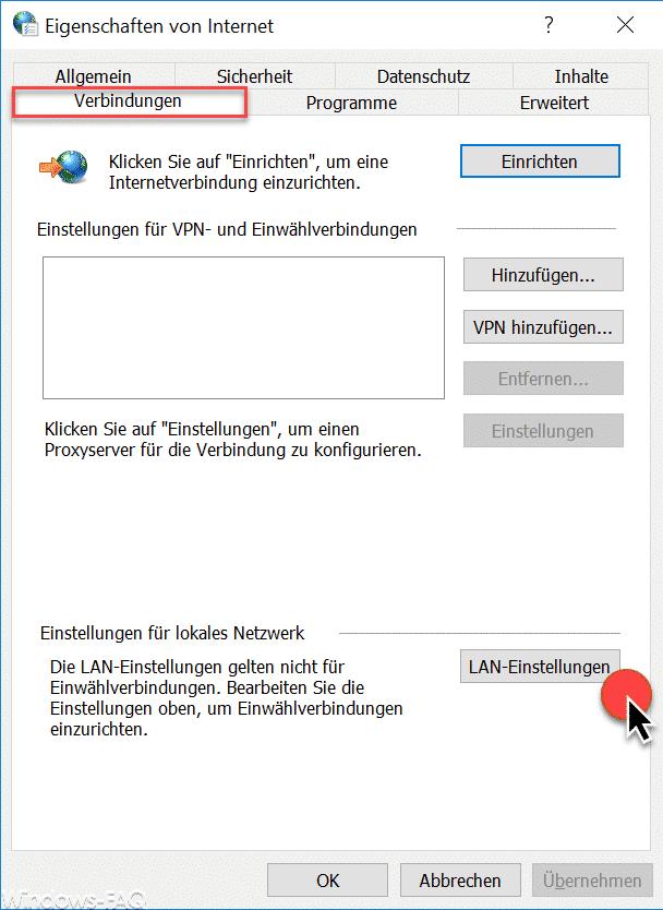 Internet Verbindungen LAN Einstellungen