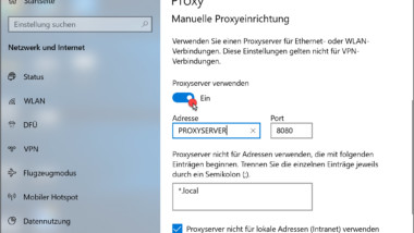 Proxy Server Einstellungen unter Windows 10