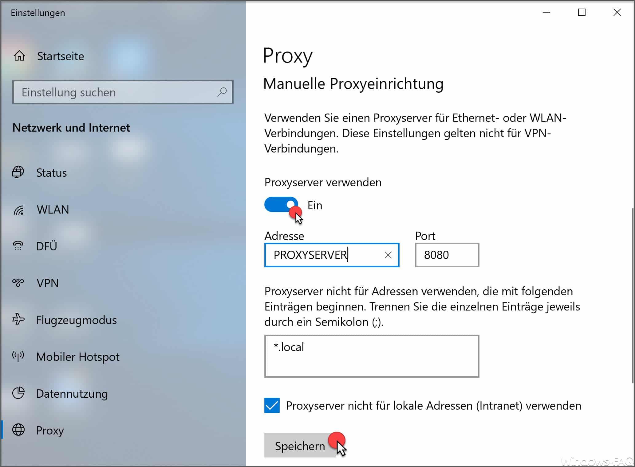 Manuelle Proxyeinrichtung Windows 10