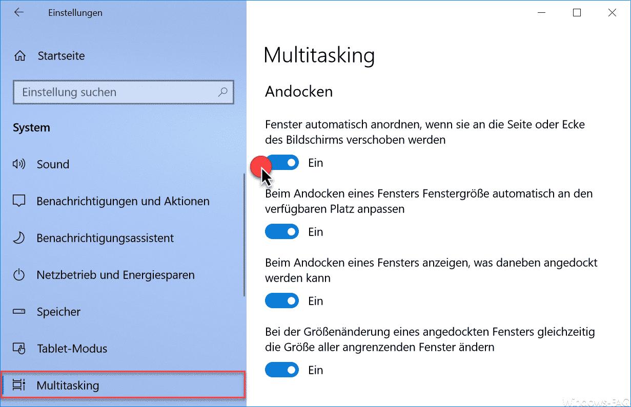 Multitasking Einstellungen Windows 10