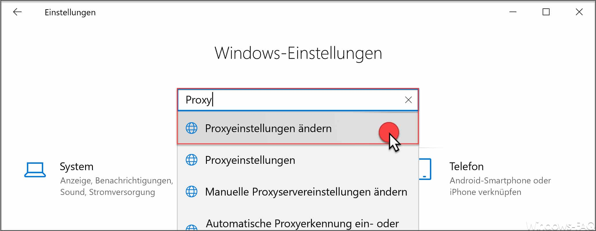 Proxyeinstellungen ändern Windows 10