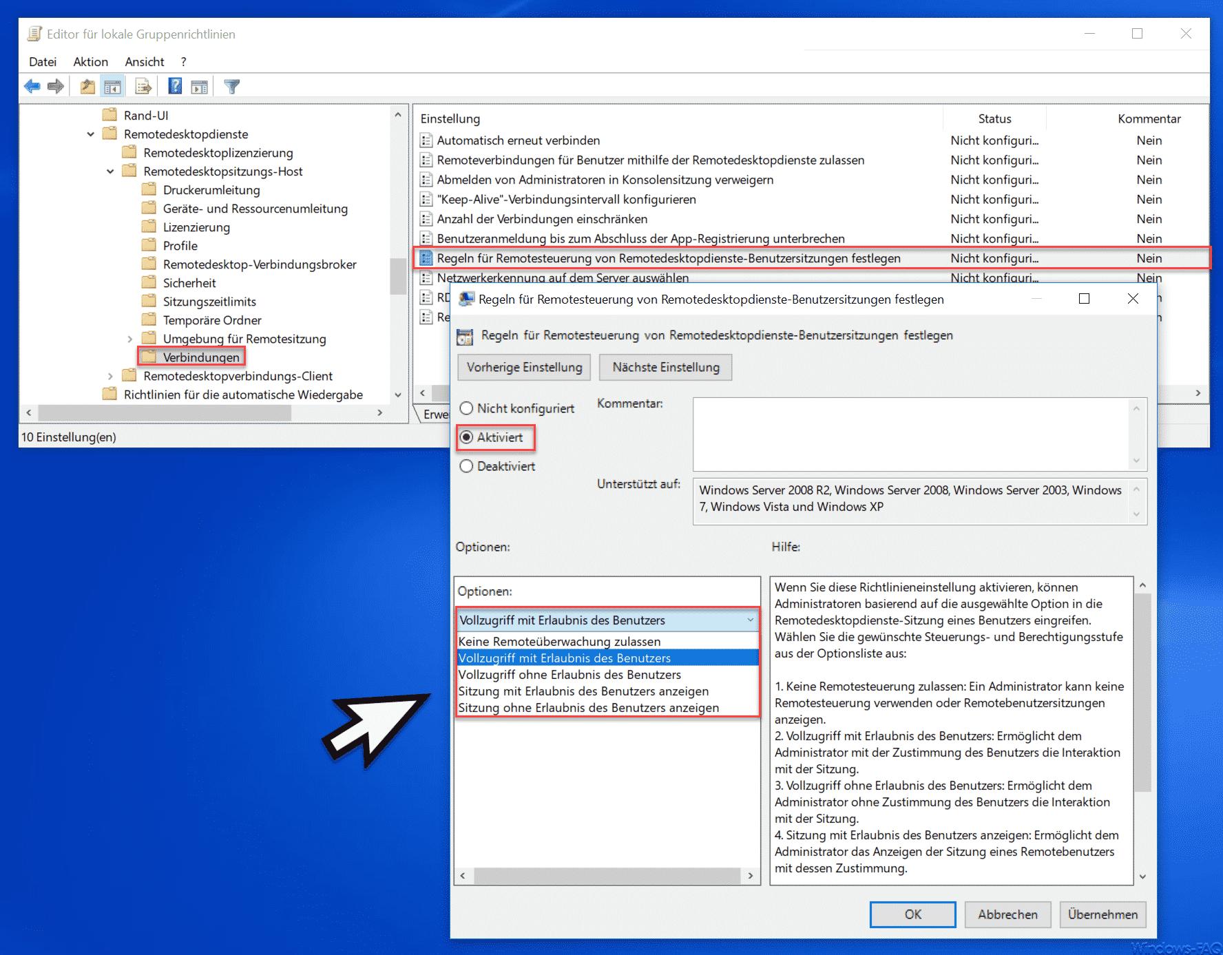 Regeln für Remotesteuerung von Remotedesktopdienste-Benutzersitzungen festlegen