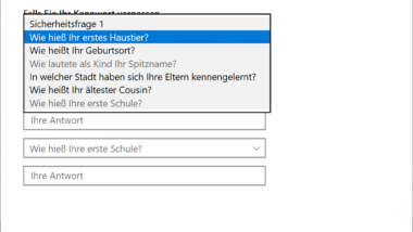 Kennwort Sicherheitsfragen erstellen oder ändern bei Windows 10