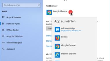Windows 10 Standard Webbrowser einstellen