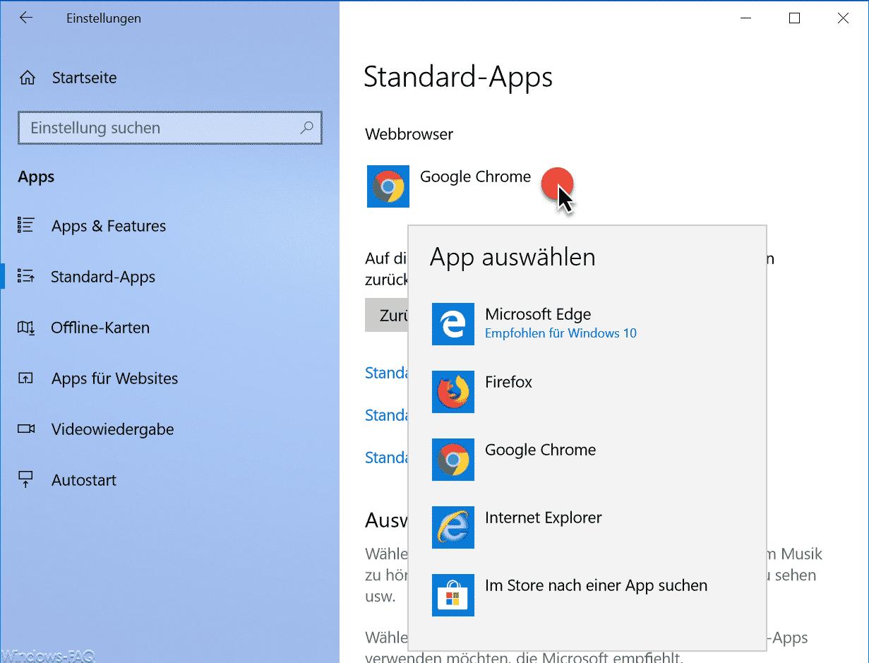 Standardbrowser Windows 10 Einstellungen