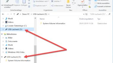 Windows 10 zeigt USB Speichermedien doppelt im Explorer an