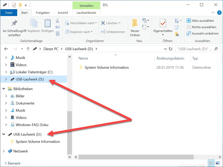 USB-Datenträger doppelt im Explorer