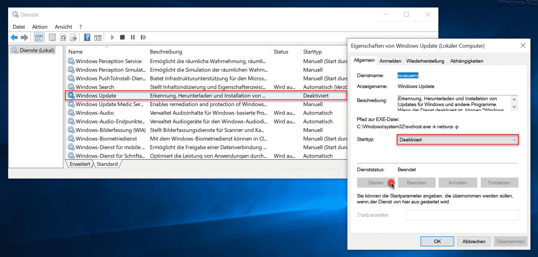 Windows Update Dienst starten