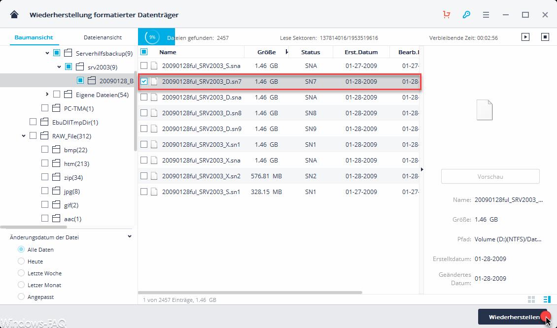 Wiederherstellung Dateien formatierter Datenträger
