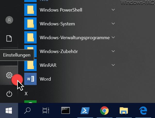 Windows 10 Einstellungen über das Startmenü aufrufen