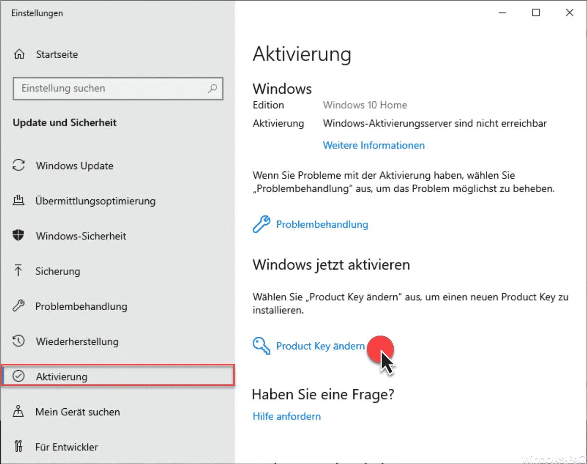 Windows 10 Home Product Key ändern