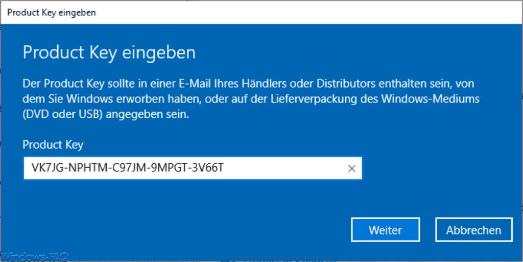 Windows 10 Home Product Key eingeben