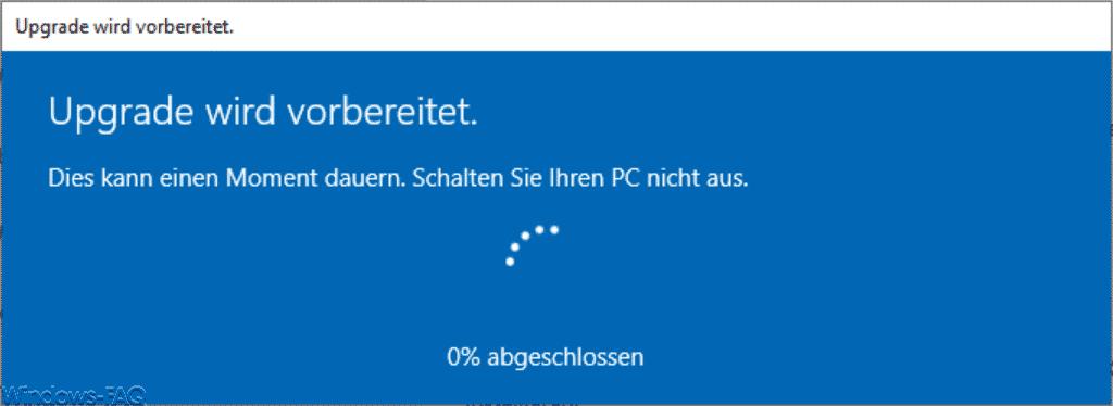 Windows 10 Home Upgrade wird vorbereitet