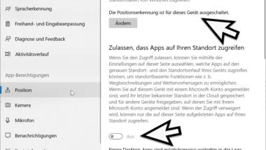 Standort Dienste für Windows 10 und Windows Apps deaktivieren