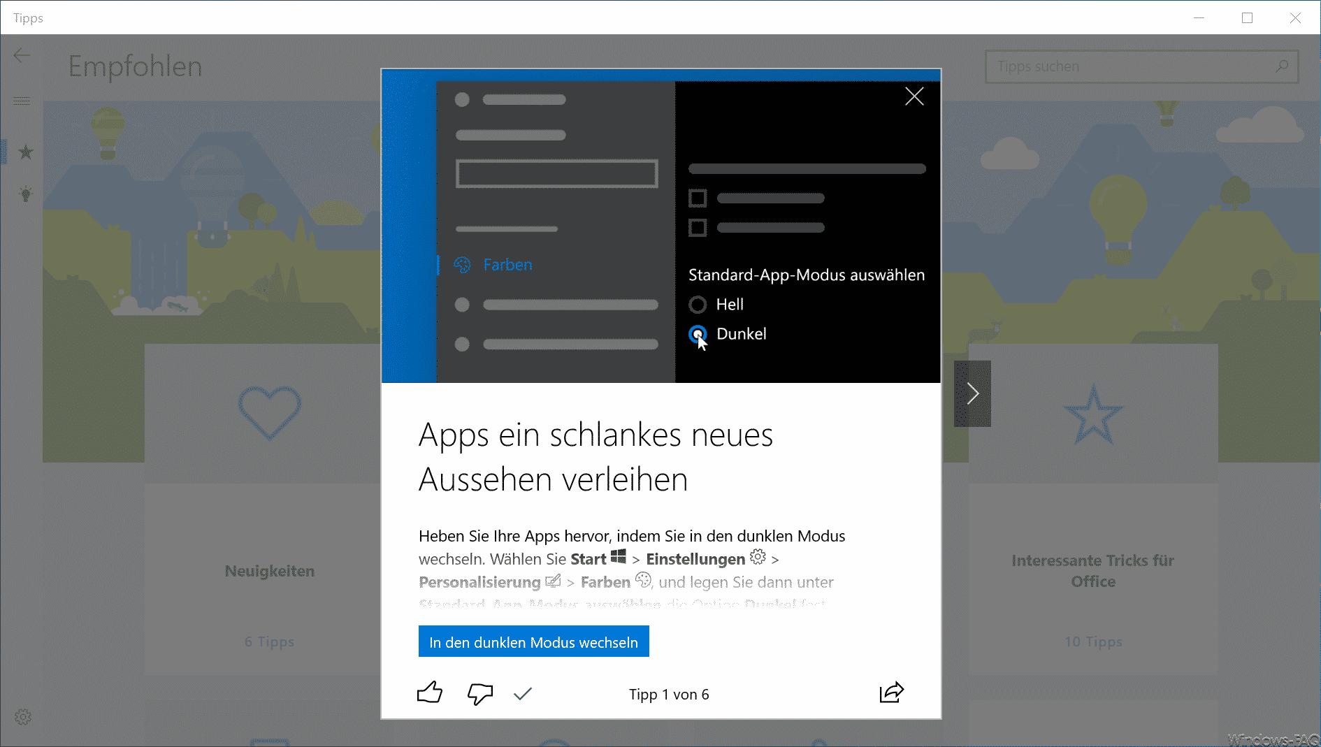 Windows 10 Tipps App Tippvorschlag