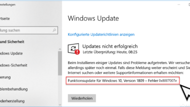 Windows Update Fehlercode 0x8007007e