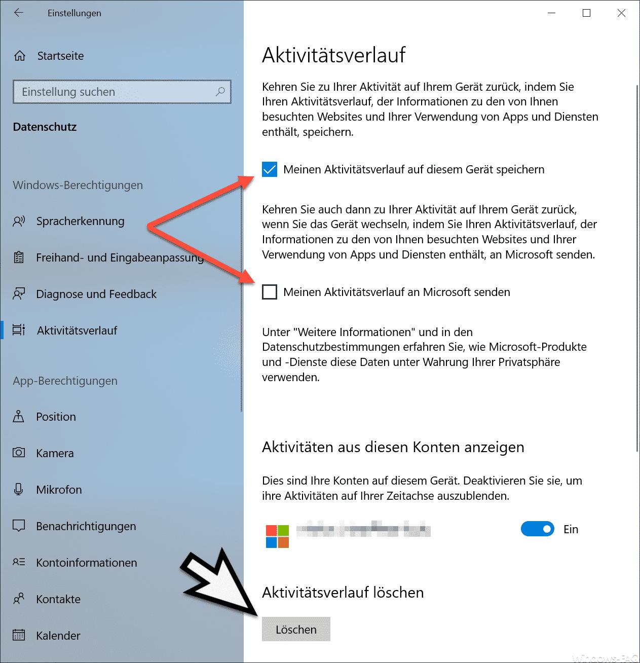 Aktivitätsverlauf Windows 10