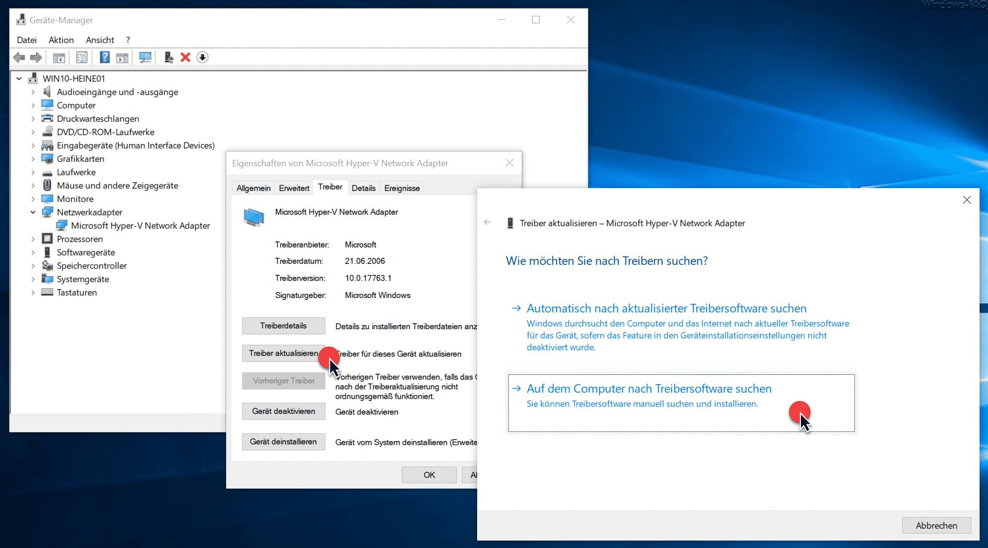 Auf dem Computer nach Treibersoftware suchen