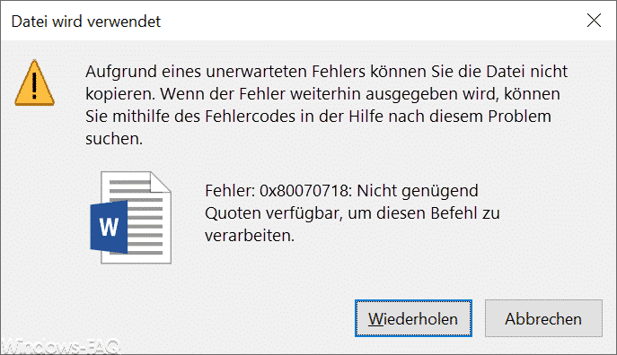 Fehler 0x80070718 - Nicht genügend Quoten verfügbar, um diesen Befehl zu verarbeiten