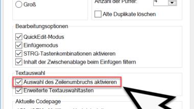 Markieren von Inhalten in der Eingabeaufforderung – Auswahl des Zeilenumbruchs aktivieren