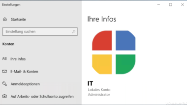 Profilbild hinterlegen für Windows Benutzerkonten