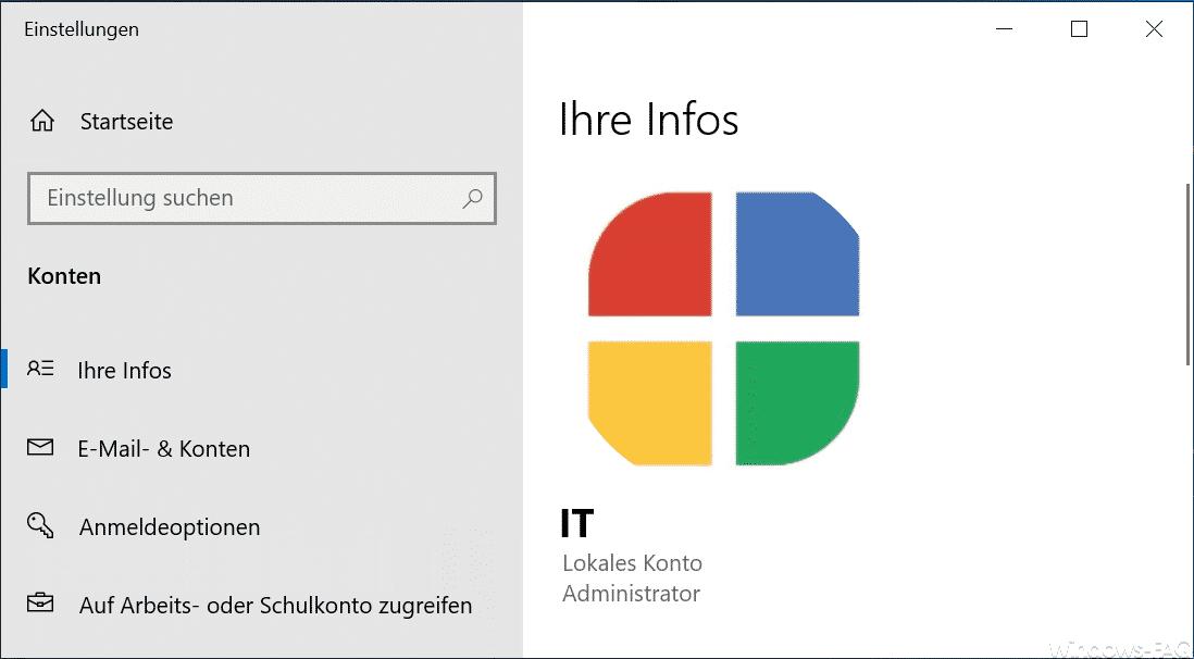 Eigenes Windows Profilbild